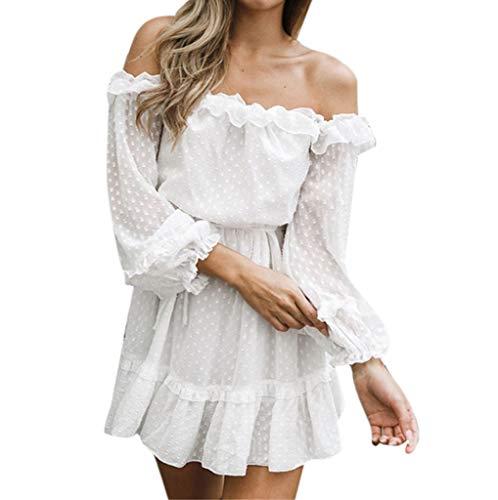 Sommer Kleid Kleider Sommerkleider Damen Weiß Kurzes Vintage Elegant Sexy Off Shoulder Hochzeit Party Schickes Rockabilly A Linien Swing Lockeres Tailliertes Lockeres