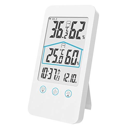 Thermometer, digitale klok, LCD-scherm, kalender, draadloos, hygrometer, buiten, binnen, multifunctioneel. free size Wit.
