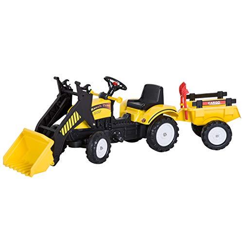 HOMCOM Tractor Pedales Excavadora Infantil Juguete de Montar con Cargador Frontal con Tráiler para Niños 3-6 Años Carga 35 kg 167×41×52cm