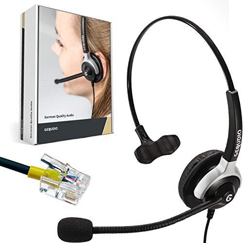 GEQUDIO Headset geeignet für Mitel ®, Aastra ®, Fanvil ®, Poly/Polycom ® und Gigaset-RJ Telefon - inklusive RJ Kabel - Kopfhörer & Mikrofon mit Ersatz Polster - 60g leicht