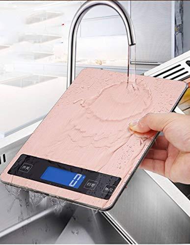 Digitale Küchenwaage Elektronische Waage Digitalwaage,Laden Von Usb-Wasserdicht Edelstahl Stilvolle Pink Ultraflaches Design Elektronische Kochen Skala Mit Erweiterten Bildschirm, Eine Genauigkei