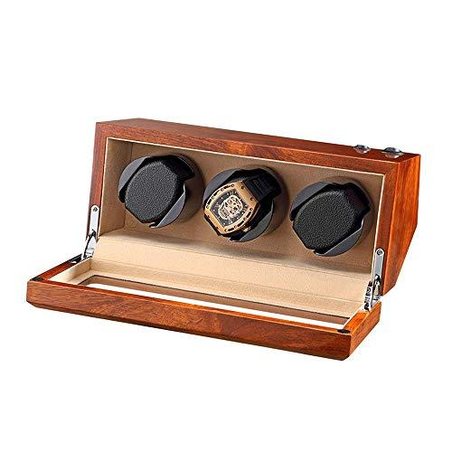 XIUWOUG Watch Winder Box per 3 orologi automatici in legno massiccio naturale, silenzioso, morbido cuscino flessibile per orologio, 5 modalità di rotazione (colore: beige)