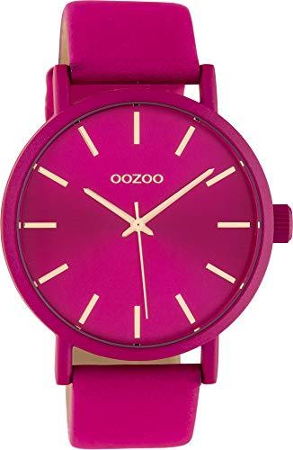 Oozoo Damenuhr mit Lederband 42 MM Colours of Oozoo Unicolor Pink C10448