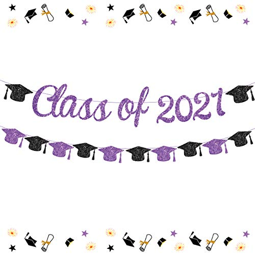 Funmemoir Clase de 2021 Banner púrpura 2021 decoraciones de graduación púrpura y negro tapa de soltero guirnalda para decoraciones de fiesta de grado 2021 Felicidades Grad Bunting Sign