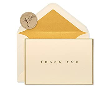 Papyrus Thank You Cards with Envelopes Gold Border  16-Count