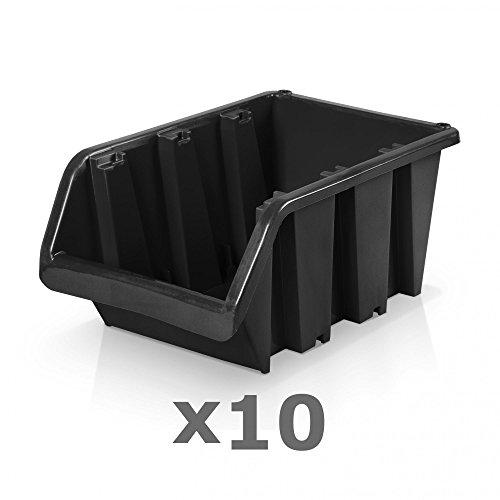 10 Stück Sichtlagerboxen Größe 5 - schwarz (29 x 20 x 15 cm)