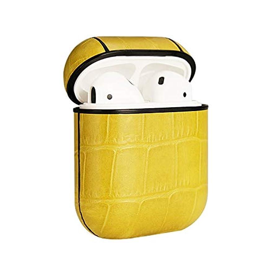 しばしば卑しいブロックするMaZhc- AirPods用レザーケース、ポータブル耐衝撃ワニテクスチャ本革牛革レザーケースカバーApple AirPods (Color : Yellow)