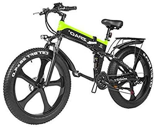 Bici electrica, Adultos Bicicleta 48V 1000W eléctrico bicicleta eléctrica de montaña de 26 pulgadas Fat Tire Bike E-21 Velocidades de Transmisión Frenos crucero de la playa for hombre de los deportes