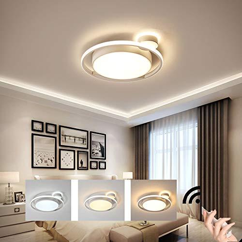 HIL Wit Rond Scandinavisch Slaapkamer Plafondlamp Modern Simpel Sfeer Woonkamer Studeer Keuken Kinderkamer Decoratieve Verlichting Intelligente Afstandsbedieningslampen,55 * 5cm/52w