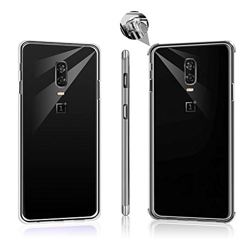 Hually Case for OnePlus 6T,2 Packs Include Shock Absorption Soft case with 4 Corners Protection and Slim Simple Fully Protective Design Soft TPU Cover for Oneplus 6T-Clear