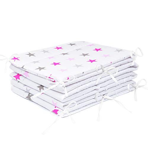 Amilian® Bettumrandung Nest Kopfschutz Nestchen 420x30cm, 360x30cm, 180x30 cm Bettnestchen Baby Kantenschutz Bettausstattung Sternchen GROß rosa (360x30cm)