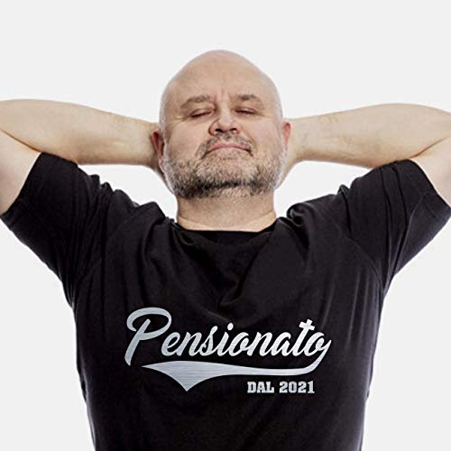 Bombo Tshirt Pensione (Lui) (Medium, Nero)