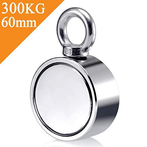 Uolor 300Kg Haftkraft Doppelseitig Neodym Ösenmagnet, Super Stark Power Magnete Perfekt zum Magnetfischen - Ø 60mm mit Öse Neodymium Topfmagnet