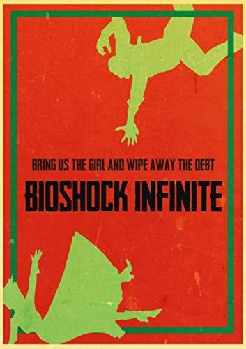 ZYAAO Póster Retro Vintage Bioshock Infinite sesión de Fotos, póster Decorativo de Pared para casa, Bar, café, habitación de Chico,E054,42x30 cm