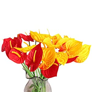 20Pcs Artificial Anthurium Flowers Real Touch Fake Flower for Home Decor Floral Arrangements Bouquets (Red,Sunset red)