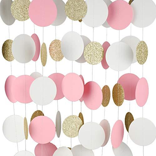 Guirnalda de papel MerryNine, pack de 5unidades ,15m. Decoración de guirnalda con purpurina y lunares, papel Banner para fiestas de nacimiento, cumpleaños, guardería y fiestas.