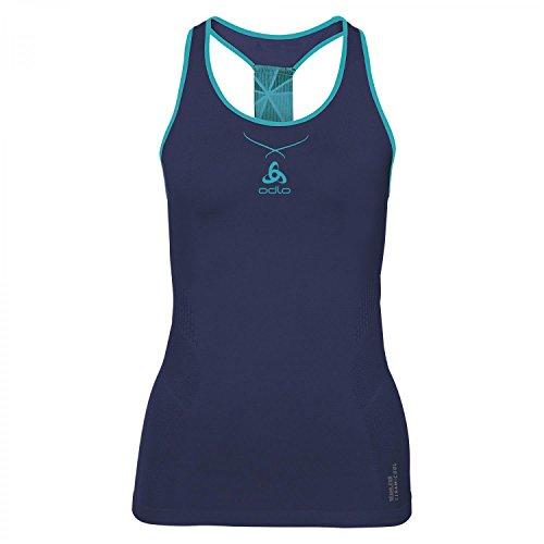Odlo Ceramicool Crew Neck Débardeur pour Femme, Bleu foncé, Turquoise, XL