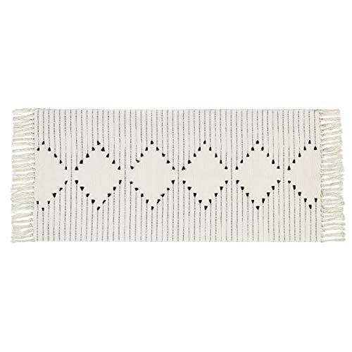Elloevn Baumwollteppich, Bedruckte Moderne Handgewebt Teppiche Läufer mit Quasten, Waschbar Teppiche für Schlafzimmer Wohnzimmer Küche, Schwarz und Weiß, 60 x 130 cm