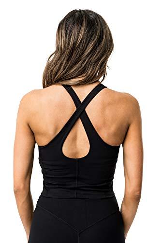 Kamo Fitness Ellyn Tank Top Crop Sports Bra for Women Soft Padded Built-in Bra Longline Yoga Running Workout (Black, S)