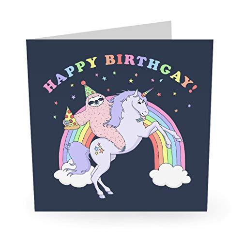 "Central 23 - Funny Gay Birthday Card - ""Happy Birthgay"" - Lesbian Gay LGBTQ - Boyfriend Girlfriend Husband Wife - Fun Stickers Included"