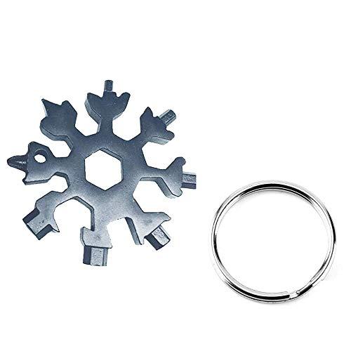 Konesky Scheda Multifunzione 18-in-1 Mini Cacciavite Portatile in Acciaio Inox con Fiocco di Neve e Portachiavi