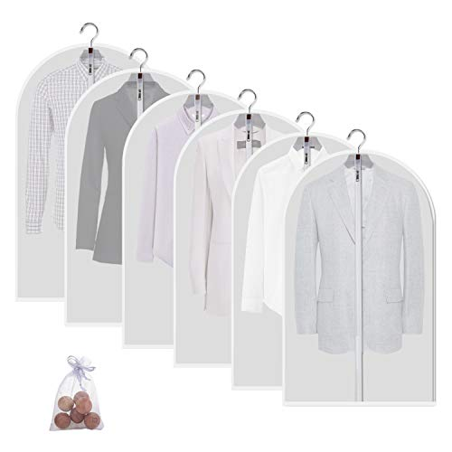 allhom dust Proof Garment Bags - Set of 6 pcs 40 inch Hanging Clothing Storage Bags and Cedar Ballsfor Jacket Shirt Sweater Suit