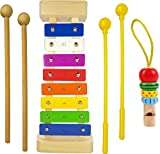 Agreat Shark Xylophone for Kids: Glockenspiel Toy Best Holiday/Birthday Gift Idea - with(Four) Child-Safe Mallets 2 Wood 2 Plastic, 3 Music Card & Whistle Included