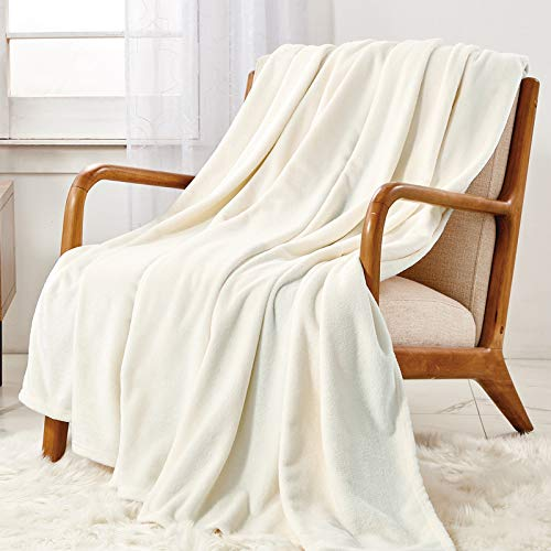 WAVVE Flannel Fleece Throw Blanket Ivory Queen Size, Super Soft Fluffy Warm Cream Large Bed hrow for Sofa Microfiber Blanket 240x220cm