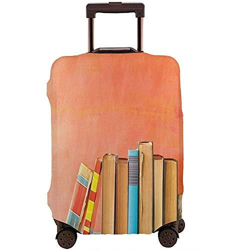 Funda de Equipaje de Viaje Foto de telón de Fondo Pintada con Grunge con Fila de Libros Antiguos Antiguos en Estante de Madera Maleta Protector Tamaño L