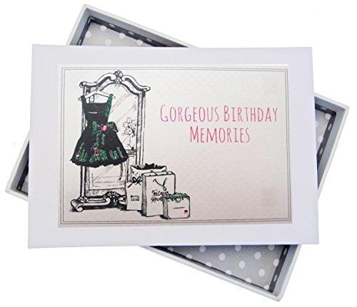 Witte Katoenen Kaarten Verjaardag Mini Fotoalbum, Zwarte Jurk, Tassen, Bordwit, 12,5 x 17,5 x 2,5 cm