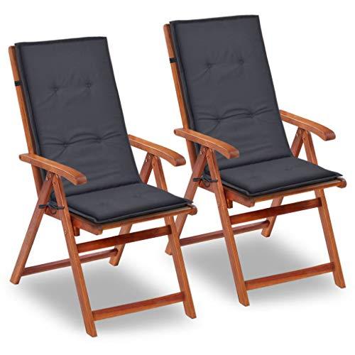 Tidyard Gartenstuhl Auflage für Hochlehner Kissen Sitzkissen Stuhlkissen Polster Stuhlauflage Sitzauflagen Sitzpolster Anthrazit, 120x50x3cm, 2 STK.