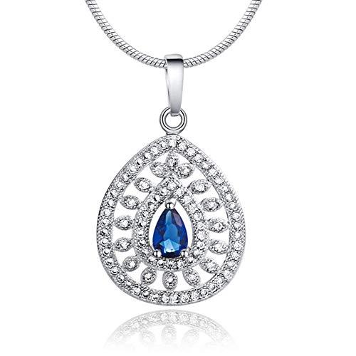 Collar vintage para mujer, estilo retro con colgante de piedras preciosas, collar largo
