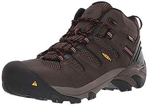 KEEN Utility Men's Lansing Mid Steel Toe Waterproof Work Boot Construction, Cascade Brown/Shiitake, 13