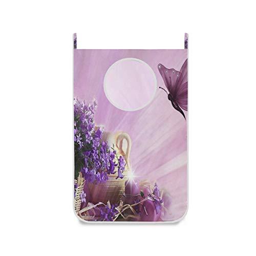Bolsa colgante para cesto de lavandería, flor púrpura, imágenes prediseñadas, mariposa, puerta / pared / armario, cesta grande para colgar la ropa, cesta para ropa sucia, con 2 ganchos