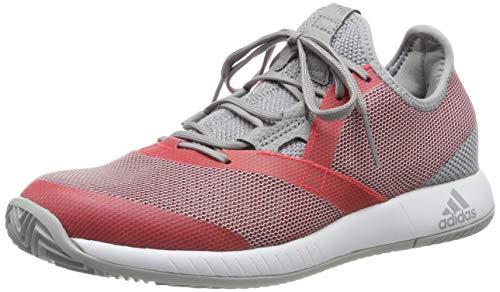 adidas Adizero Defiant Bounce W, Zapatillas de Tenis Mujer, Gris (Light Granite/Shock Red/FTWR White Light Granite/Shock Red/FTWR White), 40 2/3 EU