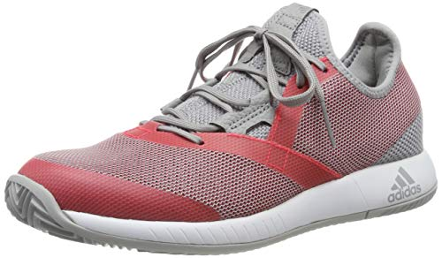 adidas Adizero Defiant Bounce W, Zapatillas de Tenis Mujer, Gris (Light Granite/Shock Red/FTWR White Light Granite/Shock Red/FTWR White), 37 1/3 EU