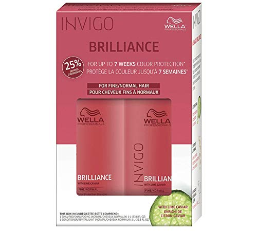 WELLA Brilliance Shampoo & Conditioner Fine to Normal Coloured Hair, Liter Duo 33.8 oz