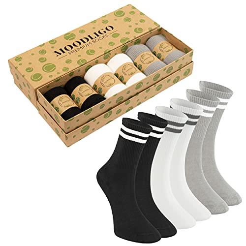 Moodligo 6 Paar Bambus Herren Sportsocken Premium Tennissocken, Atmungsaktiv, Nahtlos (39-42)