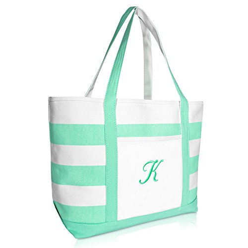 DALIX Monogram Beach Bag and Totes for Women Personalized Gifts Mint Green K