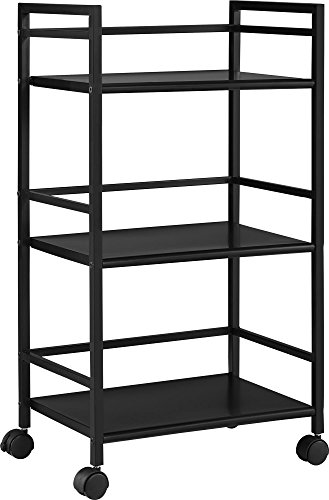 Ameriwood Home Marshall 3 Shelf Metal Rolling Utility Cart, Black