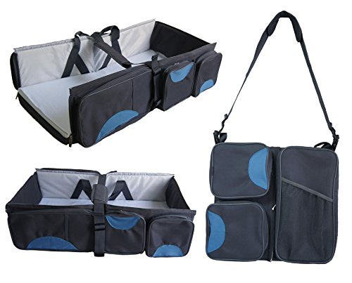 Boxum 3 in 1 Portable Bassinet Diaper Change Station, Blue/Grey