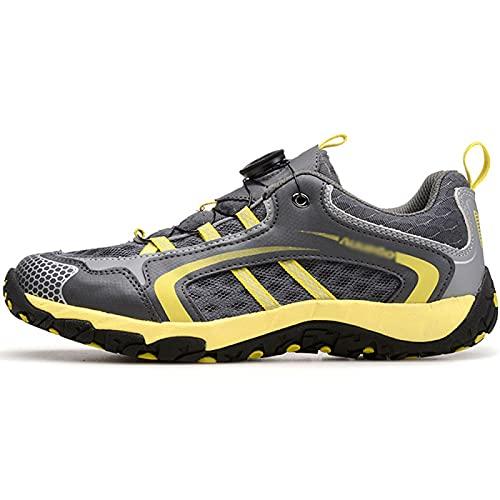AGYE Zapatillas de Ciclismo-Calzado de Ciclismo Antideslizante,Zapatos de Bicicleta de Montaña y Carretera Sin Bloqueo para Hombres y Mujeres, Zapatos de Montar con Suela de Goma,Yellow-EU42