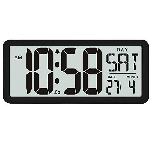 Jaimenalin Serie de Reloj de Pared Cuadrado, Reloj Despertador Digital Jumbo Grande de 13.8 Pulgadas, Pantalla LCD, Escritorio de DecoracióN de Oficina Exclusivo de MúLtiples Funciones Negro