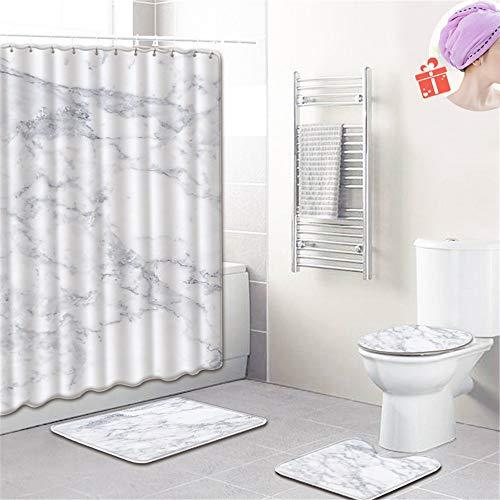 Enhome Badteppich Set 4teilig, 3D Marmor Drucken Badvorleger Bad Fußmatten Badezimmermatten Set mit Duschvorhang, Badematte, WC-Deckelbezug und rutschfeste Sockelteppich (Weiß grau,Klein)