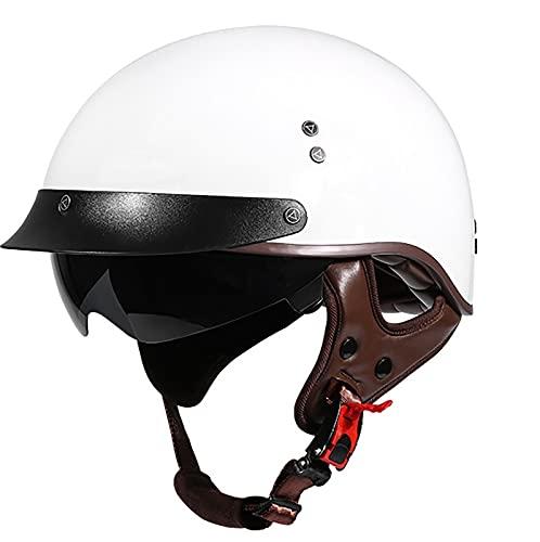 Casco Motocicleta Retro para Hombres y Mujeres Casco ECE Homologado Casco Moto Jet Casco de Motocicleta Vintage para Hombres y Mujeres con Visera Solar A,L=59~60CM