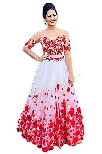 Fast Fashions Women's Net Embroidered Semi Stitched Lehenga Choli (White Colour)