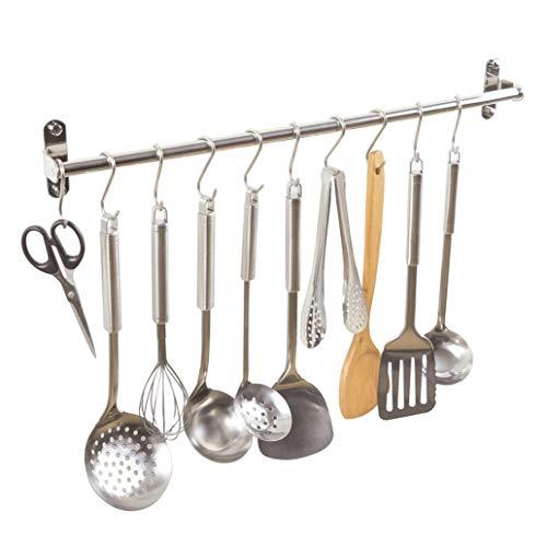 Alicemall SUS304 Edelstahl Küchen Hängeleiste Bad Hakenleiste mit 10 Beweglichen Haken (40cm)