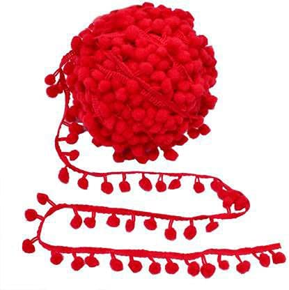 Kalagiri Pompom Red Ranking TOP18 Bombing free shipping Cotton Fringe Tassels LACE Trim Ku Saree for