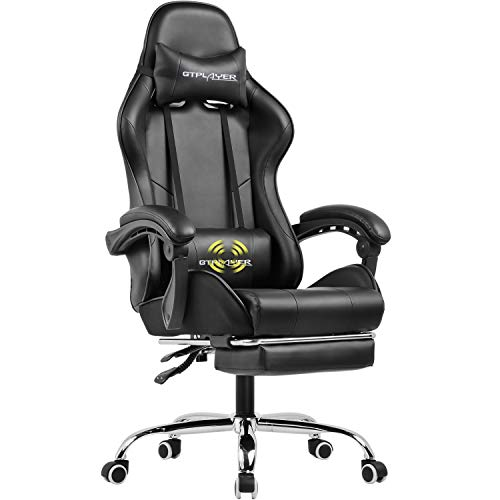 GTPLAYER Gaming Chair with Footrest Ergonomic Massage Office Chair for Adults (Black)