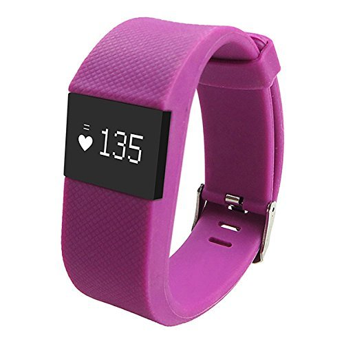 Joranlin ID100 Fitness Heart Rate Smart band Smart Bracelet Wristband Tracker Bluetooth 4.0 Watch for ios android (Purple)